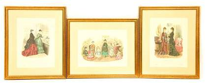 3 Antique French Fashion & Jewelry Lithographs