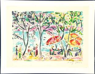 """Amos Yaskil Framed Lithograph """"Cafe by the River"""""""