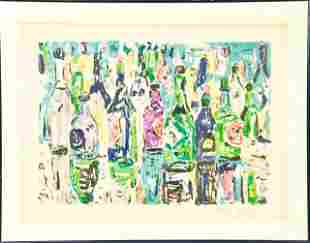 "Amos Yaskil Framed Lithograph ""Bottles"""