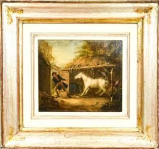 Framed Oil Painting On Board Horse Scene
