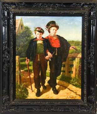 Framed J Smith Sr Provincial Oil Painting