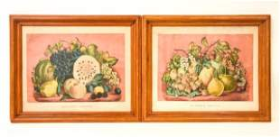 Pair Framed Fruit Lithographs By Currier & Ives