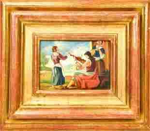 Framed German Folk Art Oil Painting of Musicians