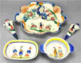 Quimper Faience Trefoil Serving Dish, Wall Vases