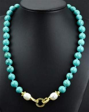 Hand Knotted Turquoise & Baroque Pearl Necklace