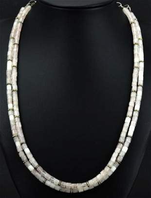Vintage Sterling Silver & Rose Quartz Necklace