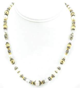 Sterling, Vermeil, Crystal, Baroque Pearl Necklace