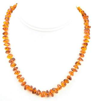 Estate Hand Knotted Amber Beaded Necklace