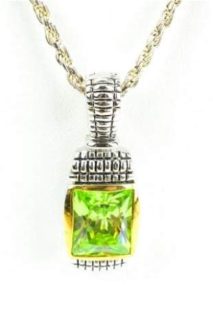 David Yurman Style Pendant Italian Sterling Chain