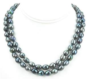 Pair of Baroque Black Tahitian Pearl Necklaces
