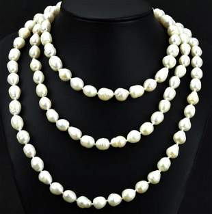 50 Inch Hand Knotted Baroque Pearl Necklace Strand