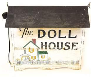 """Vintage Hanging Forged Metal Sign """"The Doll House"""""""