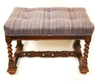 Antique Heavily Carved Upholstered Tudor Bench