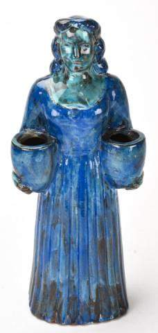 Turquoise Glaze Terracotta Figural Statue