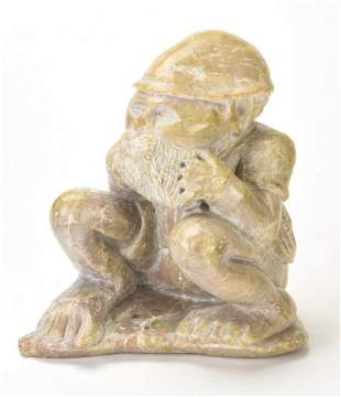 Mid C Signed Daniel Figural Carved Stone Statue