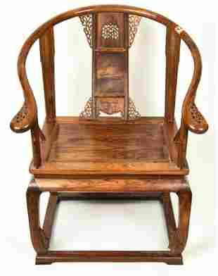 Chinese Huanghuali Type Horseshoe Throne Chair