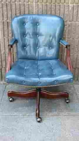 Chesterfield Style Tufted Blue Leather Desk Chair