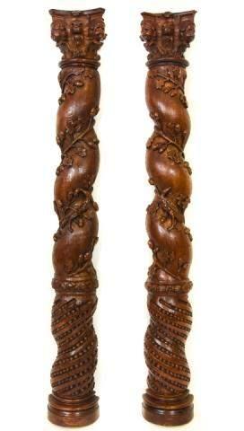 Antique Carved Oak Wall Columns w Putti & Lion