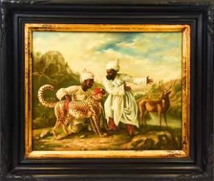 Antique Figural Orientalist Oil Painting R Neilson