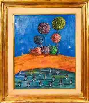 Signed Italian Mid C Oil Stylized Solider Painting