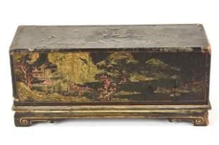 Antique Chinoiserie Lacquer Box W Gilt
