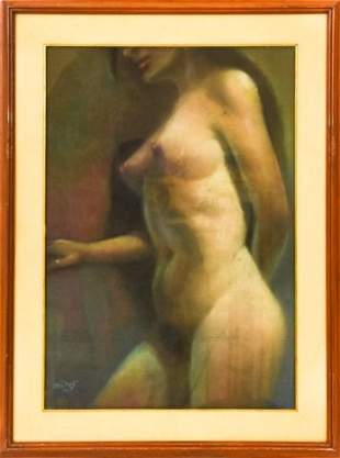 Signed Mid C Pastel Drawing Standing Female Nude