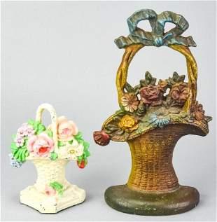 2 Antique Cast Iron Flower Basket Door Stops