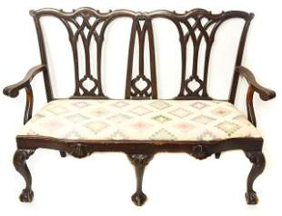 Antique Chippendale Upholstered Hall Bench Settee