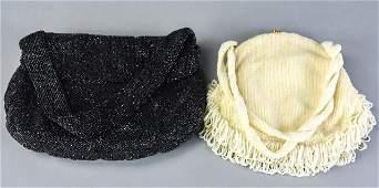 2 Vintage Koret Black & White Beaded Evening Bags