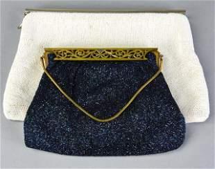 2 Vintage Micro Bead Evening Bags w Ormolu