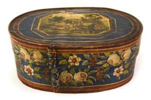 Antique Hand Painted Banded Hat Box w Hunt Scene