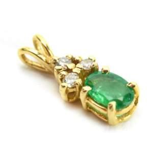 Estate 14k Gold Emerald & Diamond Necklace Pendant