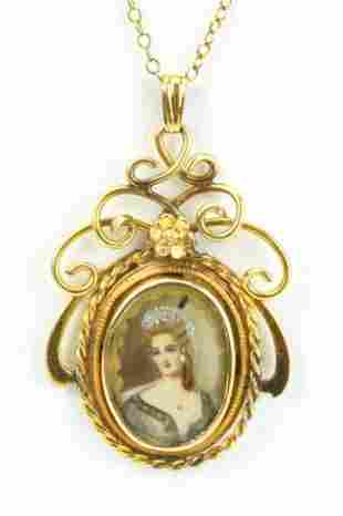 Antique Portrait Miniature Necklace Pendant