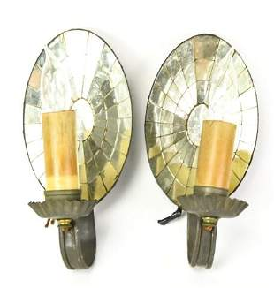 Pair Electric Tin Mirrored Wall Sconces
