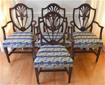 Antique 19th C Sheraton Shield Back Dining Chairs