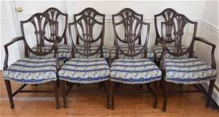 Antique Georgian Carved Shield Back Dining Chairs