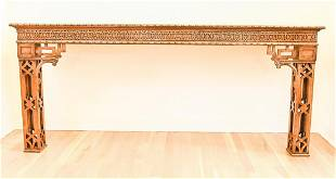 English Chinese Chippendale Mahogany Console Table