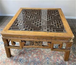 Carved Chinese Glass Top Coffee Table
