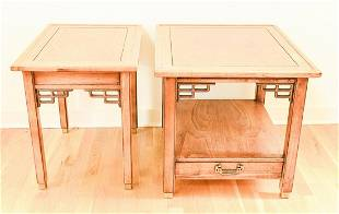2 Chinese Style Carved Oak Side Tables