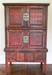 Antique Chinese Hand Carved Wood Cabinet