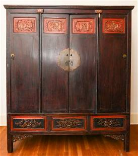 Antique Chinese Carved Wedding Cabinet