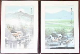 Pair of Chinese Watercolor Landscape Paintings