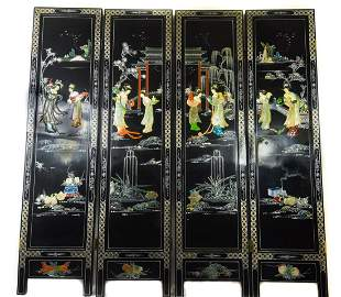 Chinese Hand Painted Four Panel Screen Divider