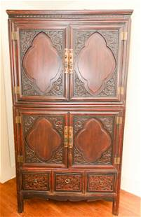 Antique Chinese Hand Carved & Paneled Cabinet