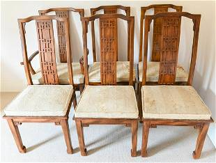 Set 6 Chinese Carved Teak Dining Chairs