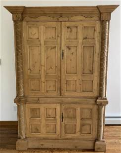 Carved Pine Armoire W Crown Molding & Paneling