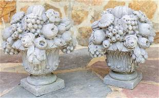 Pair Pennoyer Newman Cast Bouquet Garden Statues