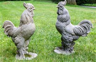 Two Outdoor Cast Resin Rooster Garden Statues