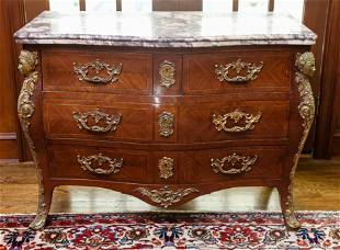 Antique French Marble Top Ormolu Bombe Chest