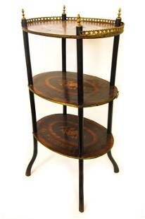 Antique French Marquetry Inlaid Tiered Side Table
